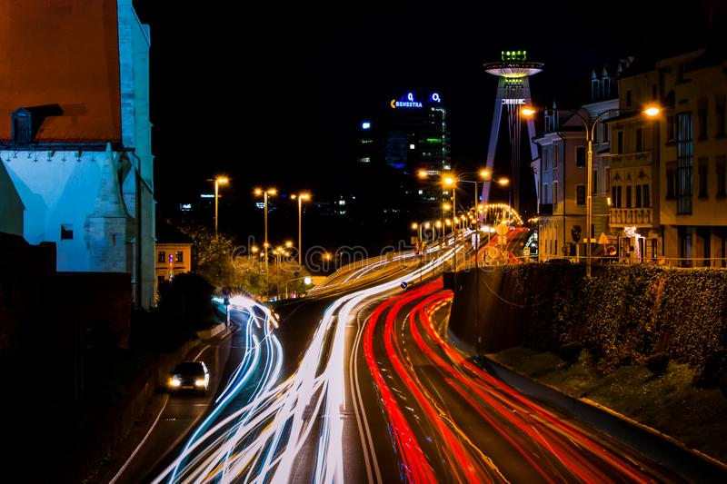 Timelapse Photo of City during Night royalty free stock photography