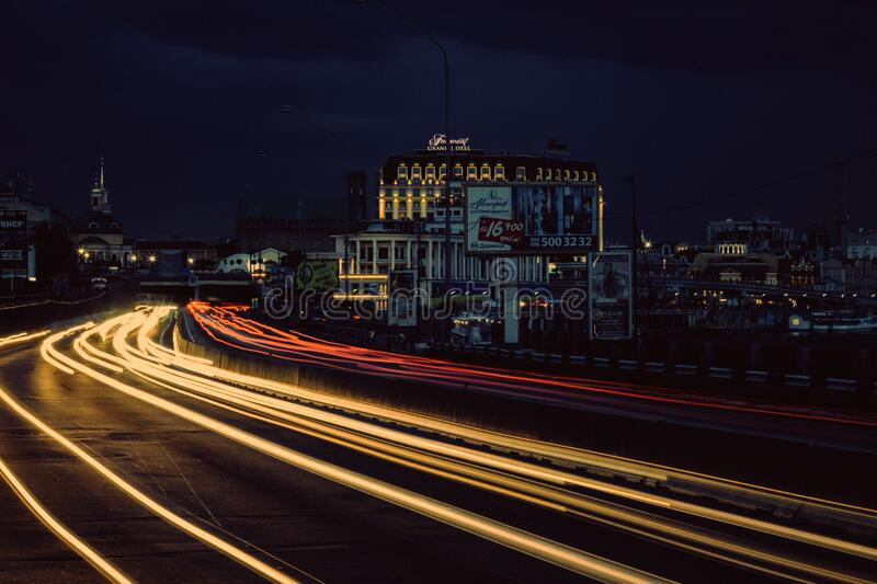 Timelapse Photography of Street With Vehicle Moving during Night Time royalty free stock photos
