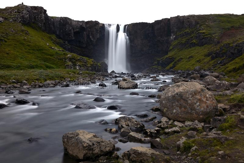 Timelapse Photography of Water Falls on Rock Cliff during Daytime royalty free stock photos