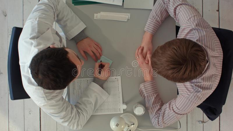 Timelapse Team of doctors having a meeting in medical office. Top view stock image