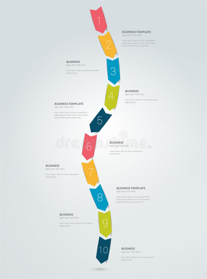Timeline arrow snake infographic template. vector illustration