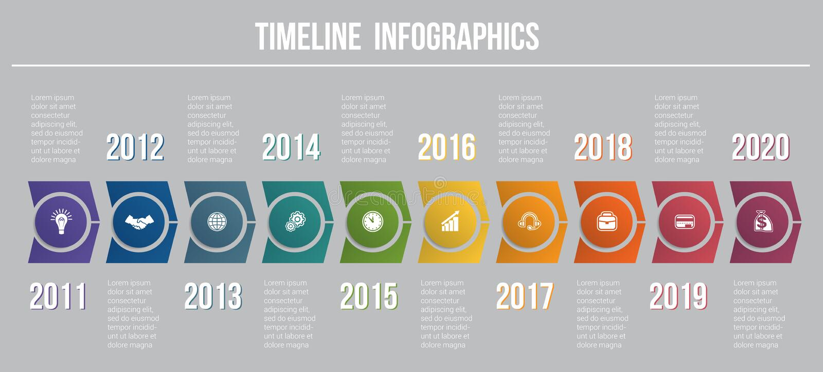 Timeline arrows 10 positions template for infographics vector illustration