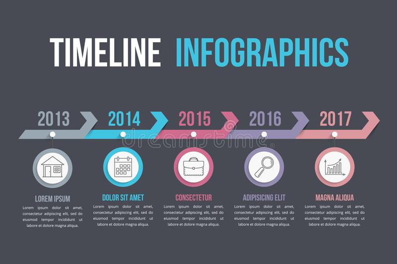Timeline with Arrows. Timeliene with arrows, workflow or process diagram royalty free illustration