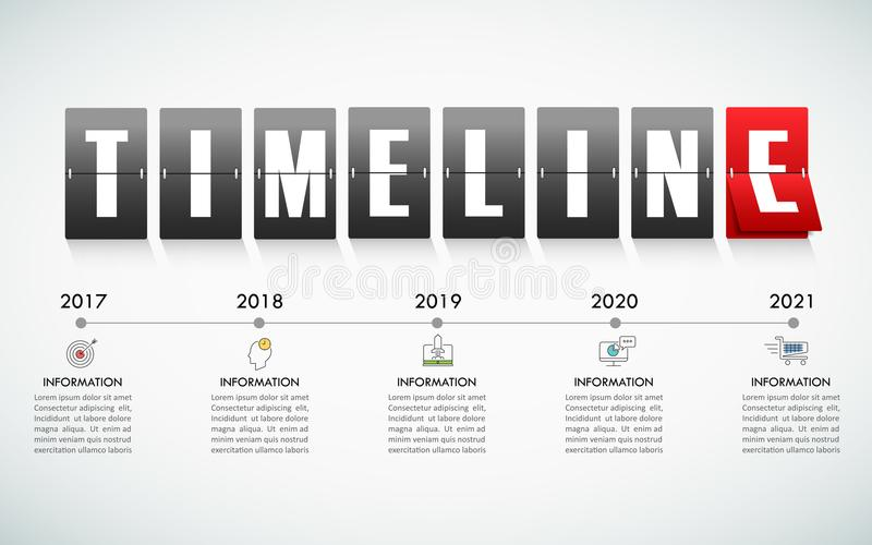 Timeline business concept infographic template. Can be used for workflow layout, diagram, number options, timeline or milestones project vector illustration