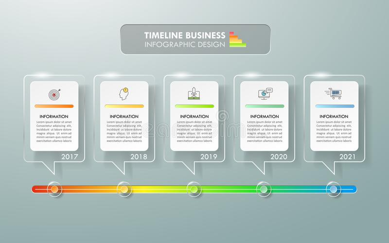 Timeline business concept infographic template. Can be used for workflow layout, diagram, number options, timeline or milestones project royalty free illustration