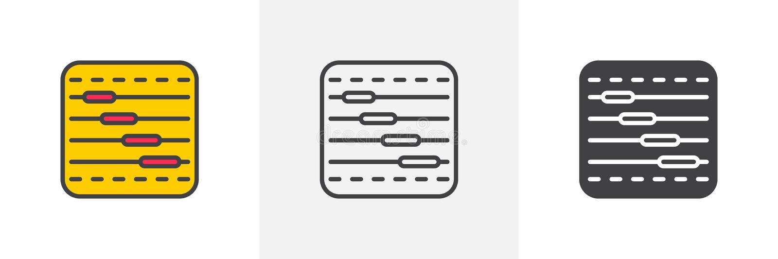Timeline chart icon. Line, glyph and filled outline colorful version, Task bars outline and filled vector sign. Symbol, logo illustration. Different style stock illustration