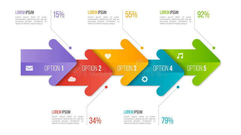 Timeline chart infographic template with arrows. 5 options. royalty free illustration