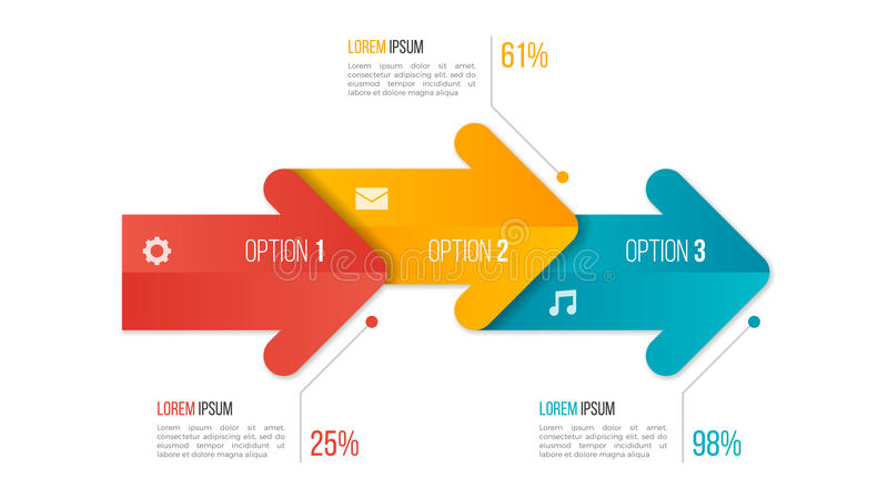 Timeline chart infographic template with arrows. 3 options. Timeline chart infographic template with arrows. 3 options, steps, parts, processes Vector vector illustration