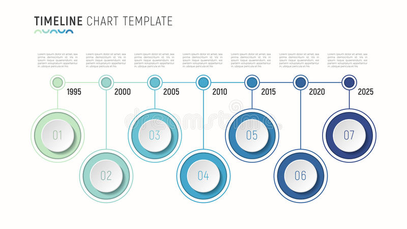 Timeline chart infographic template for data visualization. 7 st stock illustration