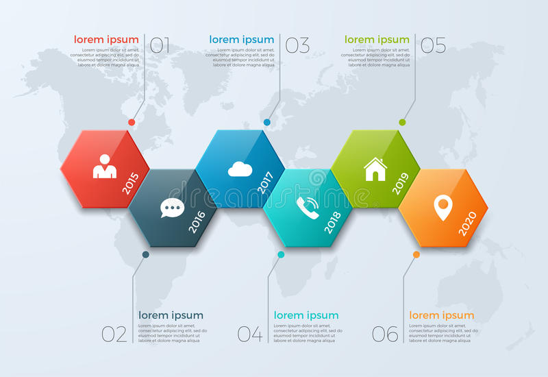 Timeline chart infographic template with 6 options. For presentations, advertising, layouts, annual reports, web design royalty free illustration