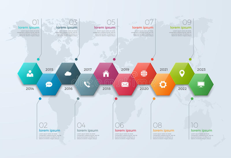 Timeline chart infographic template with 10 options. For presentations, advertising, layouts, annual reports, web design vector illustration