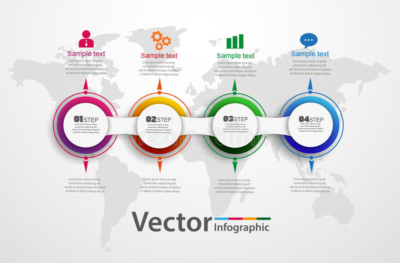 Timeline chart infographic template with 4 options for presentations, advertising, layouts, annual reports, web design. Vector. Circle infographic royalty free illustration