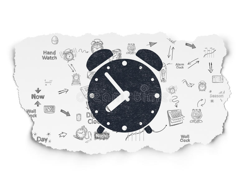 Timeline concept: Alarm Clock on Torn Paper. Timeline concept: Painted black Alarm Clock icon on Torn Paper background with Scheme Of Hand Drawing Time Icons, 3d stock illustration