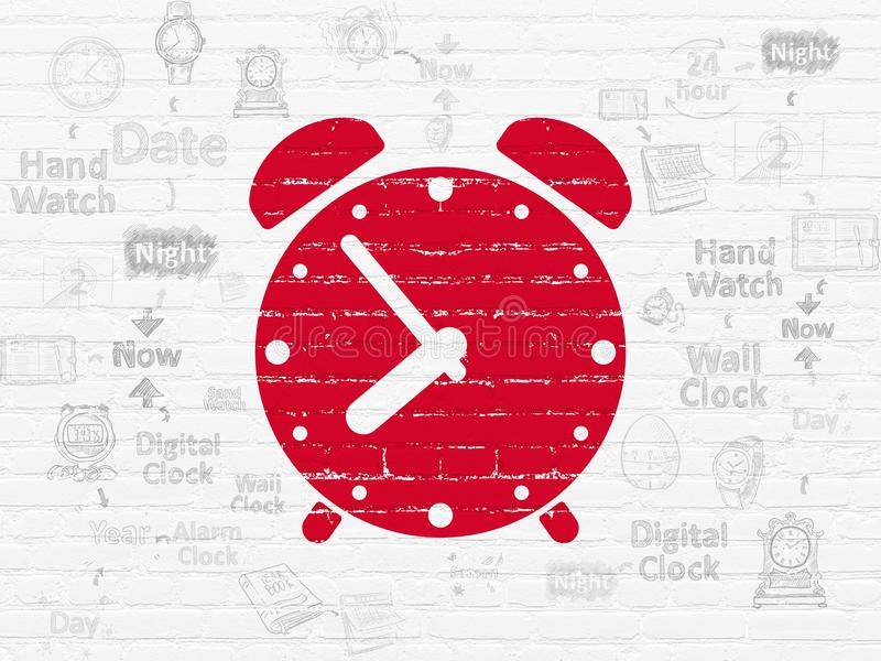 Timeline concept: Alarm Clock on wall background. Timeline concept: Painted red Alarm Clock icon on White Brick wall background with Scheme Of Hand Drawing Time stock illustration