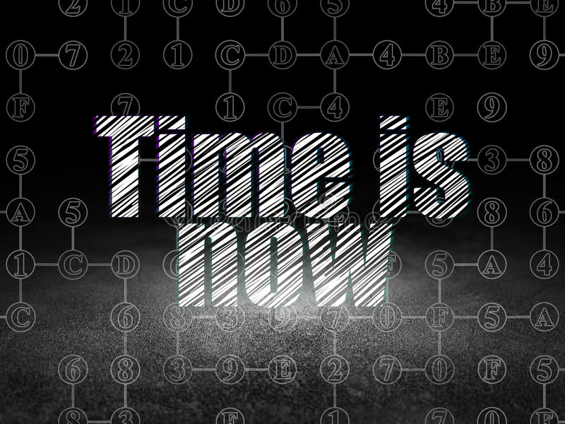 Timeline concept: Time is Now in grunge dark room. Timeline concept: Glowing text Time is Now in grunge dark room with Dirty Floor, black background with Scheme stock illustration