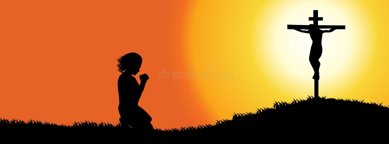 Timeline Cover. Prayer Silhouette Royalty Free Stock Images