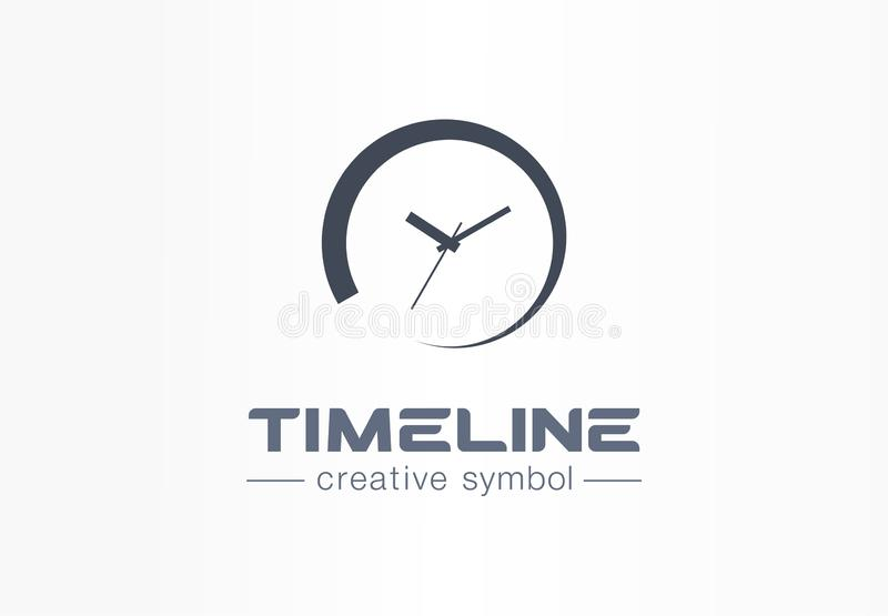 Timeline creative symbol concept. Time start, deadline timer, pending process abstract business logo. Loading watch royalty free illustration