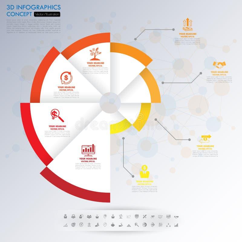timeline för affärsidé 3d Infograph mall vektor illustrationer