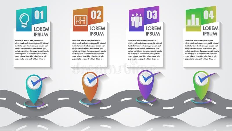 Timeline 4 för milstolpar för företaget för numret för symbolen för den affärsInfographics vektorn kliver mallkopia-utrymme med p royaltyfri illustrationer