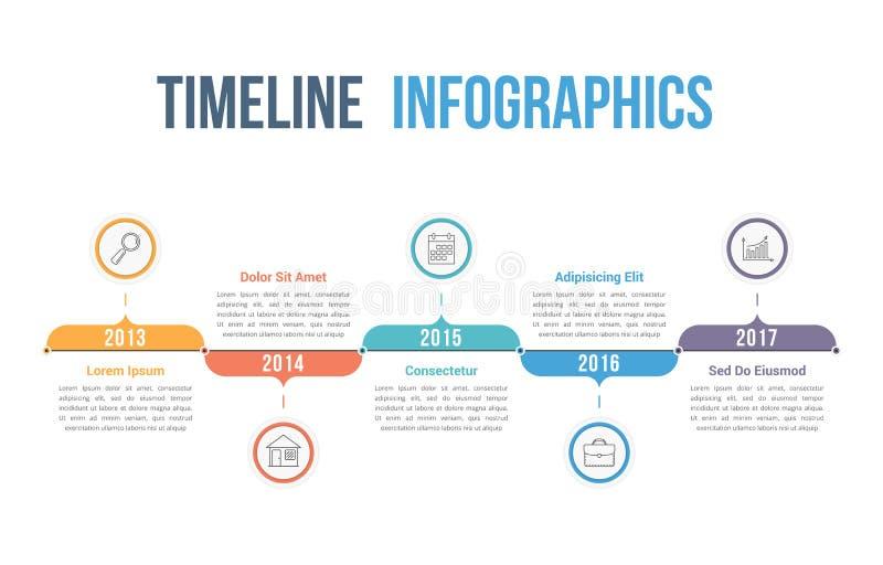 Timeline. Horizontal timeline infographics template, workflow or process diagram vector illustration