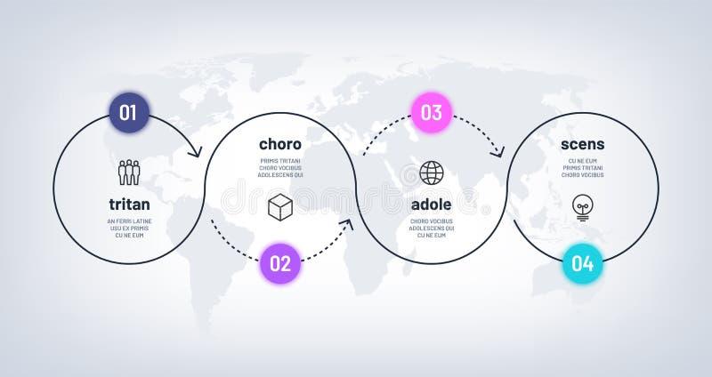 Timeline Infographic Öglasprocessdiagram med moment 4 på världskarta Alternativprocess för affär fyra med nummer Workflow stock illustrationer