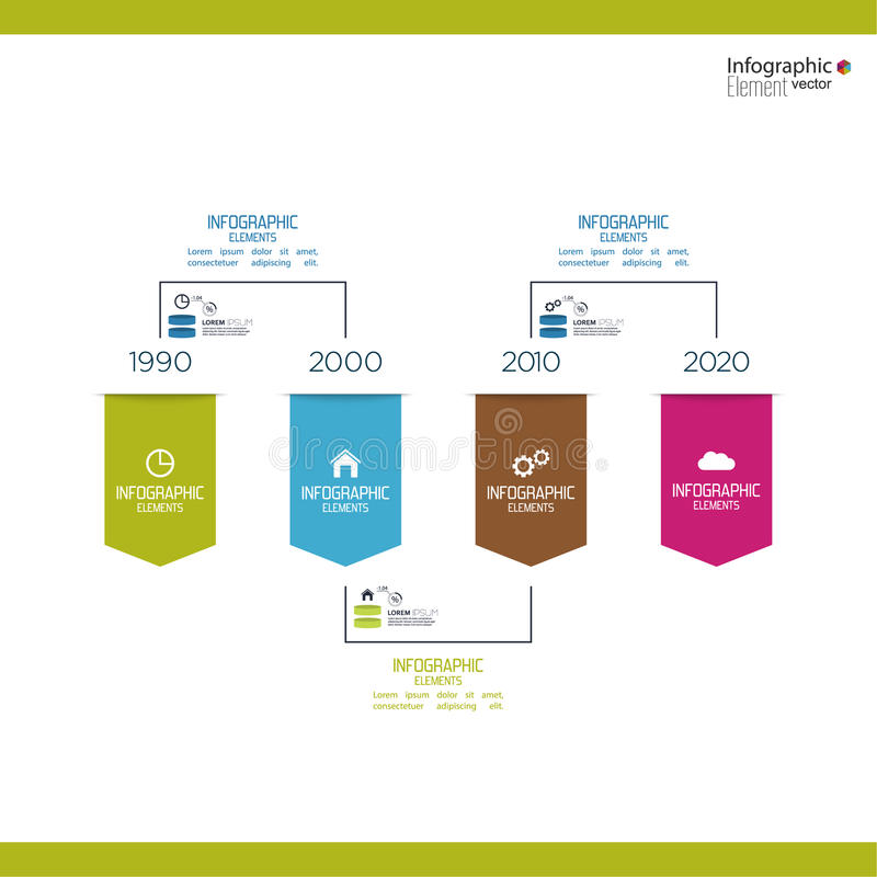 Timeline Infographic with arrows and pointers. For excluding, sales, development, ranking stock illustration