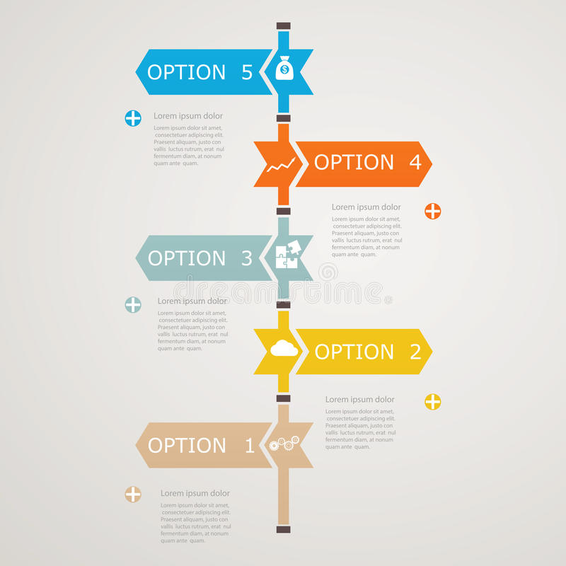Timeline Infographic with business icons, step structure to success vector illustration