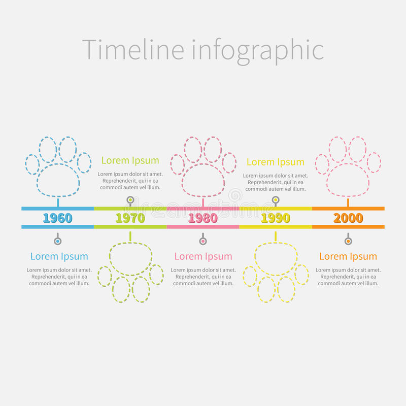 Timeline Infographic colour dash line paw print and text. Template. Flat design. Vector illustration stock illustration