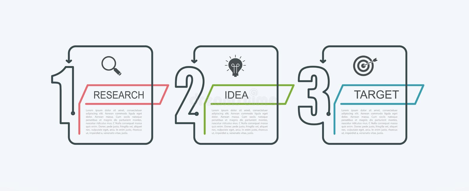 Timeline infographic design template with step structure. Business concept with 3 options pieces or steps. Block diagram, informat royalty free illustration