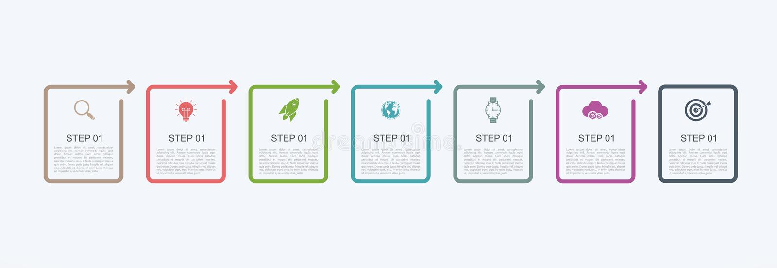 Timeline infographic design template with step structure. Business concept with 7 options pieces or steps. Block diagram, informat vector illustration