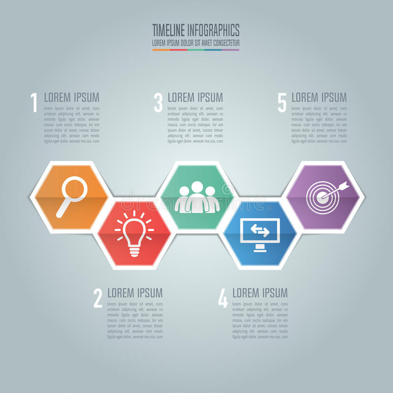 Timeline infographic design vector and marketing icons for presentation. royalty free illustration