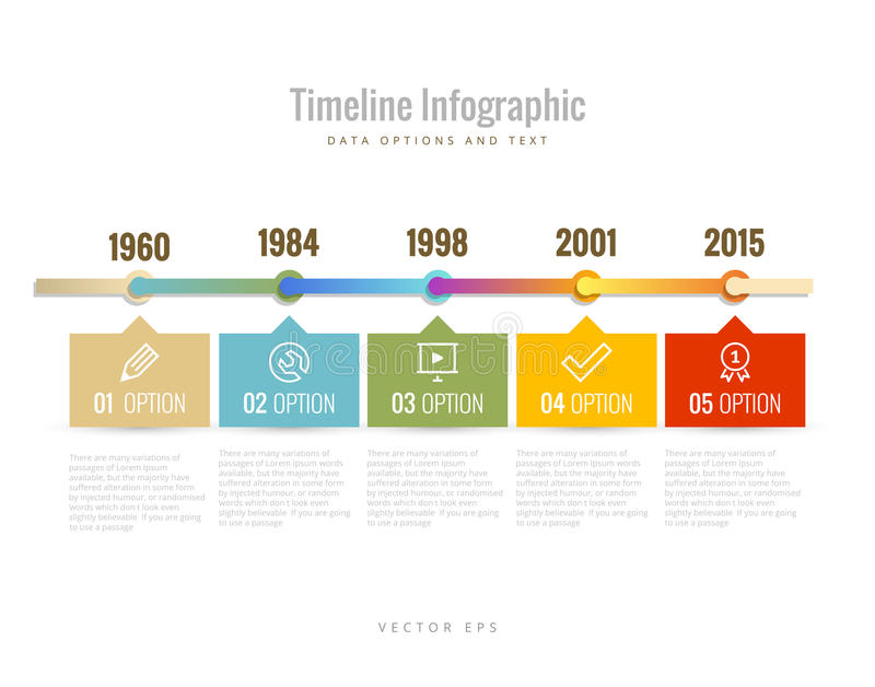 Timeline Infographic with diagrams, data options and text. Time stock illustration
