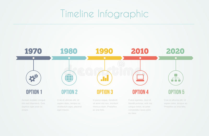 Timeline Infographic. With diagrams and text in retro style