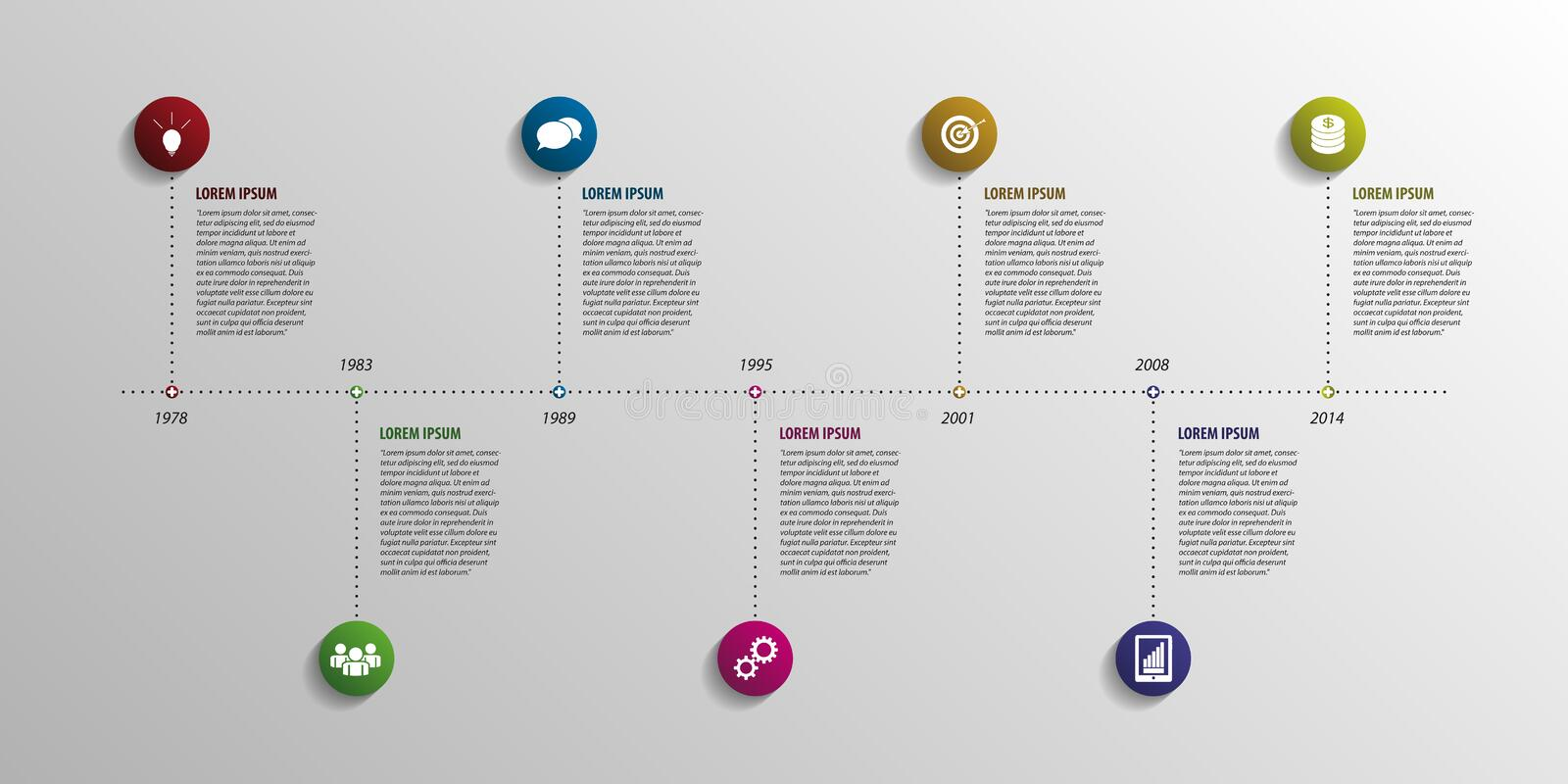 Timeline infographic elements. Vector with icons vector illustration