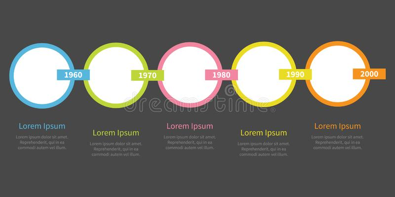 Timeline Infographic f?r fem moment Färgrika cirklar och rektangelkedja mall Plan design Svart bakgrund isolerat stock illustrationer