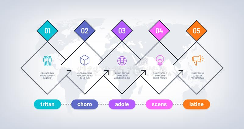 Timeline infographic. History process chart with 5 steps on world map. Business options progress milestones. Workflow. Vector diagram. Chart infographic step royalty free illustration