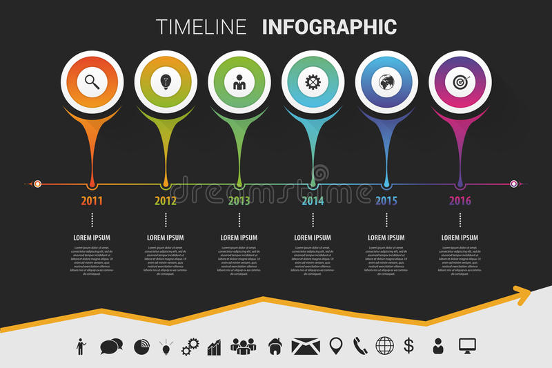 Timeline infographic modern design. Vector with icons. Illustration vector illustration