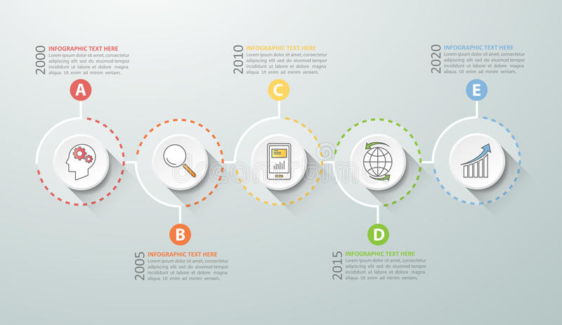 Timeline infographic 5 options, Business concept infographic. Template can be used for workflow layout, diagram, number options, timeline or milestones project stock illustration