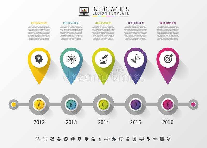 Timeline Infographic with pointers and text in modern style. Vector design template stock illustration