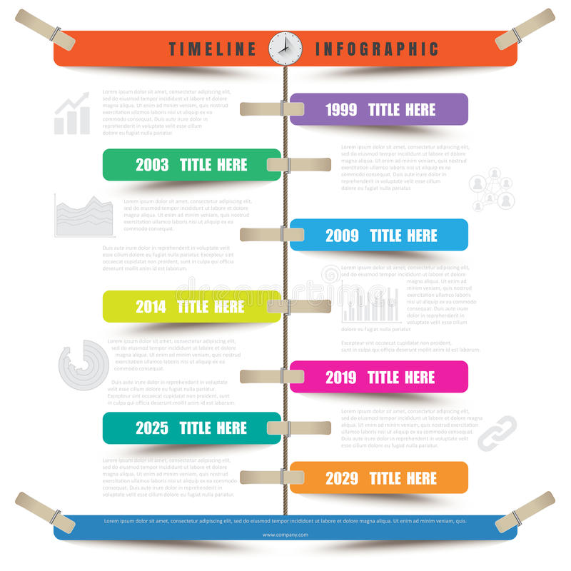 Timeline Infographic report template hanging on a rope with clothespin stock illustration