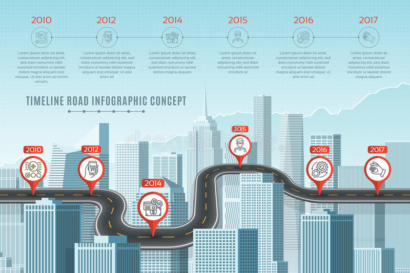 Timeline infographic road concept on similar New York City skyli vector illustration