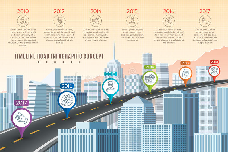 Timeline infographic road concept on similar New York City stock illustration
