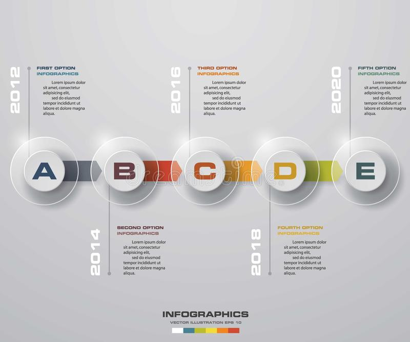 Timeline infographic 5 steps vector design template. Can be used for workflow processes. vector illustration