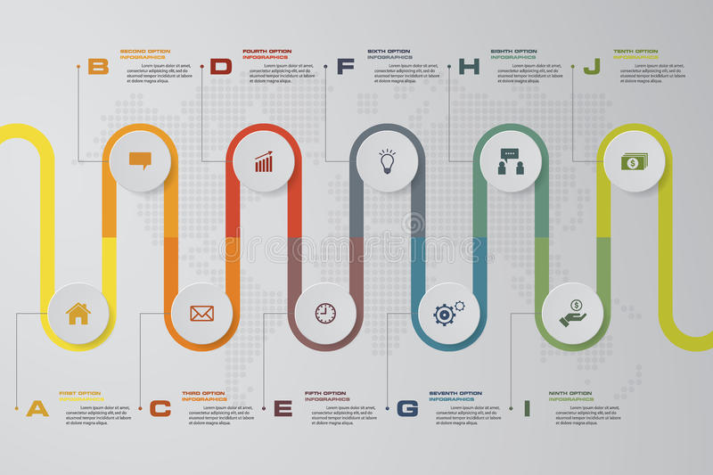 Timeline infographic 10 steps vector design template. Can be used for workflow processes, diagram, number options, timeline. royalty free illustration