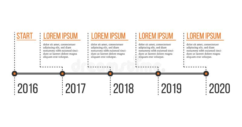 Timeline infographic template. Business concept with options, parts, steps with place for text. Vector illustration isolated. On white background vector illustration