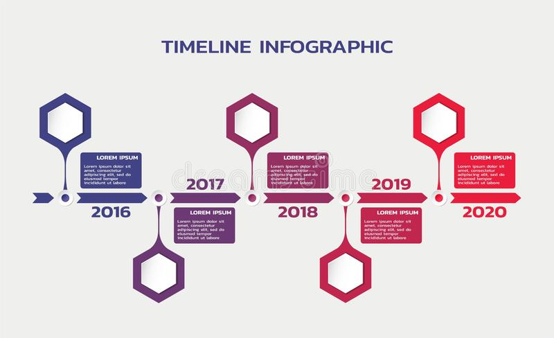 Timeline infographic template with hexagons, years and text. process flowchart stock illustration