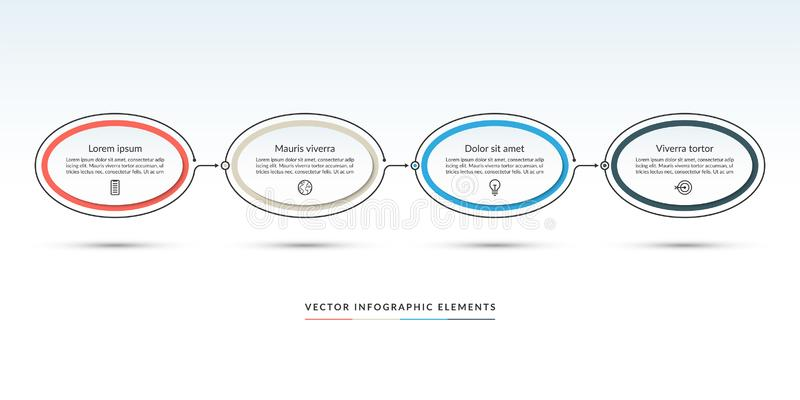 Timeline infographic template of 4 options. Steps, parts. Can be used for web design, diagram chart, graph, business presentation stock illustration