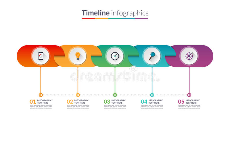 Timeline infographic template of rounded elements. vector illustration