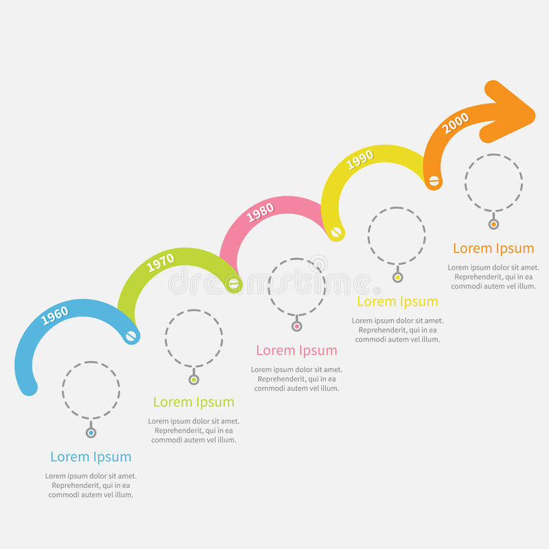 Timeline Infographic upwards arrow with dash line circles and text. Template. Flat design. Vector illustration stock illustration