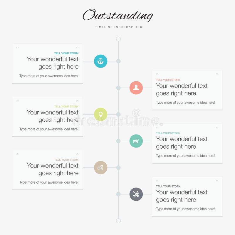 Timeline infographic vector template flat inspirational colors vector illustration
